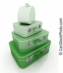 Pile of green luggage