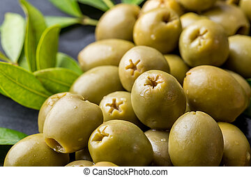 pile of green olives