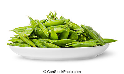Pile of green peas in pods on white plate