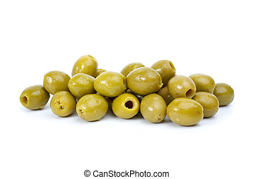 Pile of green pitted olives isolated on the white background