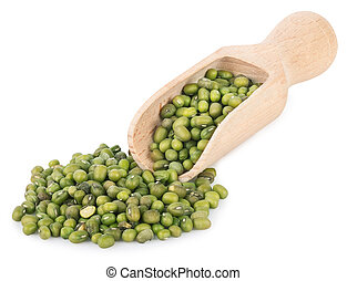 mung beans in wooden scoop isolated on white background
