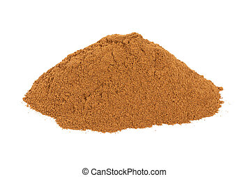 Pile of ground cinnamon isolated on white