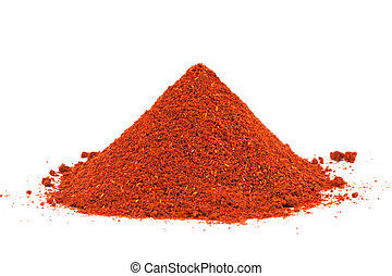 Pile of ground Paprika isolated on white background. Used to...