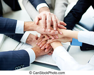 Pile of hands - Close-up of business partners making pile of...