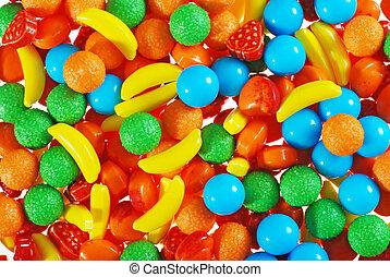 pile of hard fruit candy making background