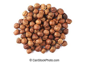 Pile of hazelnuts