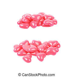 Pile of heart shaped beads isolated - Pile of pink and...