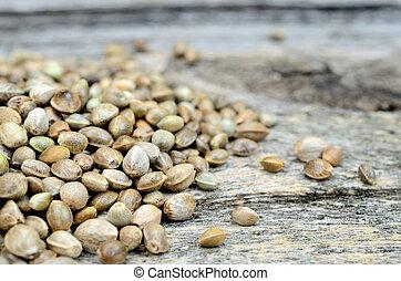 pile of hemp seed on table