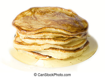 Pile of home-made pancakes with honey on white background