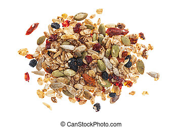 Pile of homemade granola with various seeds and berries shot...