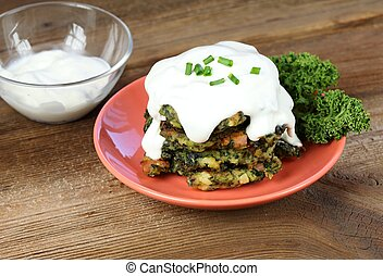 Pile of homemade kale pancakes with dressing - Fried ...