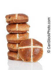 pile of hot cross buns