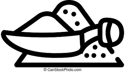 pile of hot peppers with measuring spoon line icon vector illustration