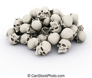 pile of human skulls - 3d render of a pile of human skulls