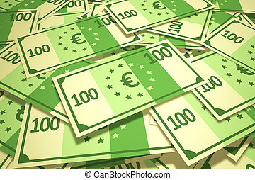Pile Of Hundred Euro Notes.Finances banking wealth