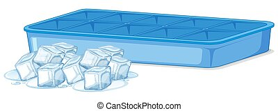 Pile of ice and empty ice tray on white background