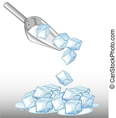 Pile of ice and metal spoon