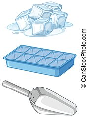 Pile of ice with tray and spoon