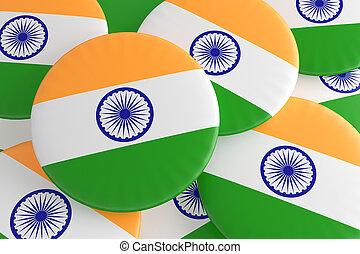 Pile of India Flag Badges, 3d illustration