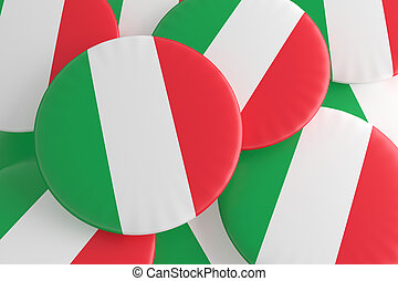 Pile of Italy Flag Badges