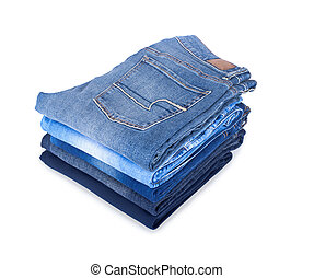 pile of jeans on a white background