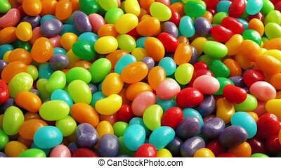 Pile Of Jelly Beans Moving Around - Overhead shot of...