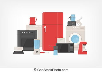 Pile of kitchen utensils, household appliances, cooking facilities, electric tools and equipment for food preparation isolated on white background. Colorful vector illustration in flat cartoon style.