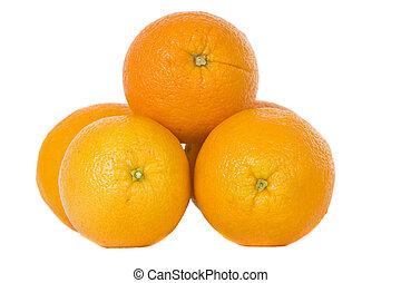 pile of large oranges - navel oranges on white background...