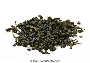 Pile of leaves quality black tea Earl Gray on white background
