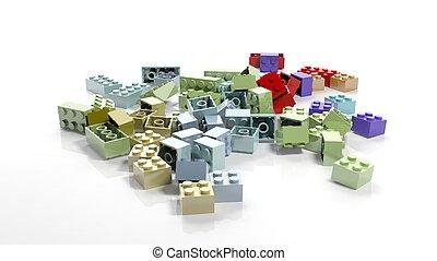 Pile of lego blocks isolated on white background