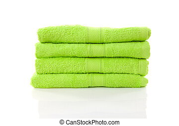 pile of lime green towels