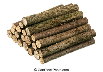 Pile of logs are isolated on a white background