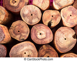 small wood cutting resembles a pile of logs for decoration