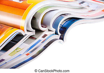 Pile of magazines - Pile of colour illustrated magazines on...