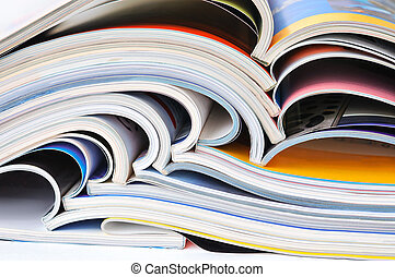 Pile of colorful magazines