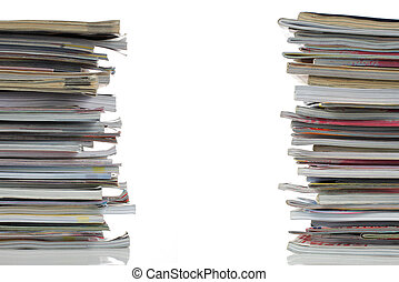 shot of stack of magazines with blank cover isolated on white