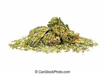 Pile of medical marijuana on white background.