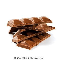 pile of milk chocolate blocks jn white background