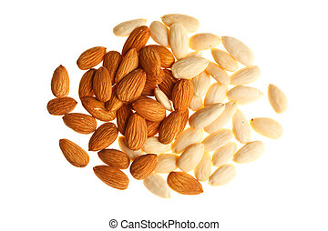 Pile of mixed almonds isolated