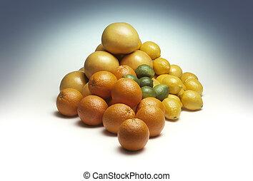 Pile of mixed citrus fruit