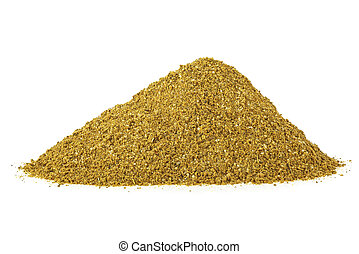 Pile of mixed dried spices isolated on a white background