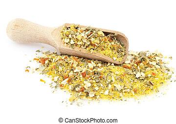 seasoning - pile of mixed seasoning on white background