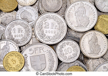 Pile of Modern Swiss Franc Coins - A pile of current, legal...