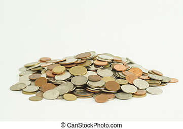pile of money coin isolated on white background