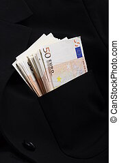 Pile of money fifty euros banknotes in pocket
