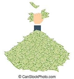 pile of money hand