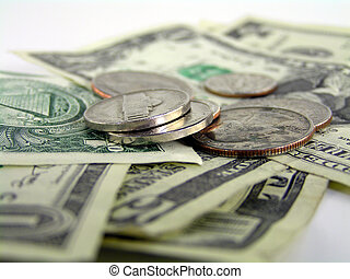 pile of money - extreme close up of pile of bills and change...