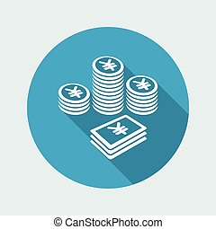 Pile of money - Yen - Vector web icon