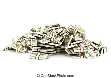Pile of money,stacks of 50 , 20 and 10 dollar bills on a...
