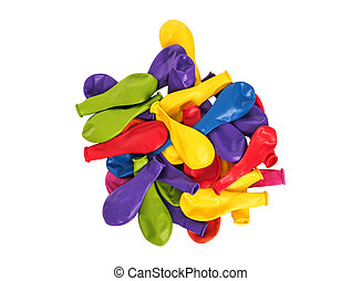 Pile of multi-colored balloons on a white background.